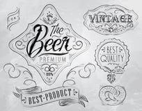 Éléments de vintage de bière. Charbon. illustration de vecteur
