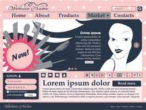 Éléments de web design dans des couleurs roses et noires pour le site des cosmétiques des femmes descripteur Image libre de droits