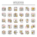 Éléments de web design, ligne mince et icônes parfaites de pixel illustration stock