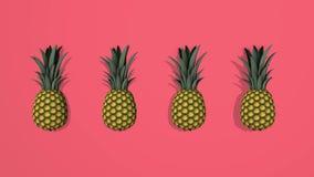 Éléments des ananas 3D sur le fond coloré, enregistrement vidéo 4K loopable illustration stock