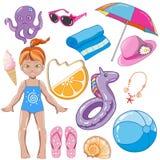 Éléments des vacances d'été d'enfants illustration stock