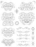 Éléments Dix de conception de calligraphie de vintage Images libres de droits