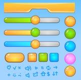 Éléments du jeu UI. Boutons et icônes colorés illustration stock