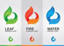 3 éléments du monde L'eau du feu de feuille Images stock