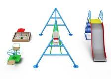 Éléments du terrain de jeu sur un fond blanc rendu 3d illustration de vecteur