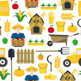 Éléments et équipement de Background Pattern Farming d'agriculteur Vecteur illustration de vecteur
