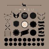 Éléments et icônes d'infographics de style de hippie Image libre de droits