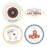 Éléments et insignes de conception de roulette de casino réglés illustration stock