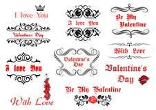 Éléments et manuscrits calligraphiques pour Valentine Image libre de droits