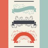 Éléments et rubans de conception florale de vintage illustration stock