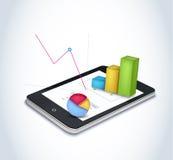Éléments financiers sur l'écran de tablette Images libres de droits