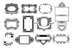 Éléments fleuris de conception de trame et de cadre Photographie stock libre de droits