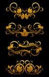 Éléments floraux de cru d'or illustration libre de droits