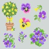 Éléments floraux de jardin de point croisé Images stock