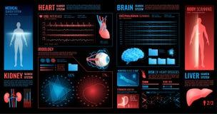 Éléments foncés médicaux d'interface illustration stock