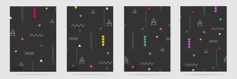 Éléments géométriques à la mode Memphis Pattern Set Illustration Stock
