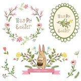 Éléments graphiques heureux de Pâques, ensemble de vecteur Images stock