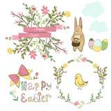 Éléments graphiques heureux de Pâques, ensemble de vecteur Photos stock