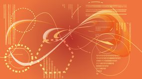Éléments graphiques numériques de HUD de technologie énergétique moderne abstraite d'or jaune d'une future texture circulaire d'u illustration libre de droits
