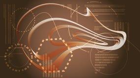 Éléments graphiques numériques de HUD de technologie énergétique moderne abstraite d'or jaune d'une future texture circulaire d'u illustration stock