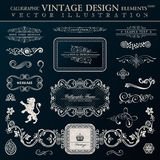 Éléments héraldiques calligraphiques de décor Cadres de vintage de vecteur Image stock