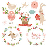 Éléments heureux de graphique de Pâques Images libres de droits