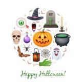 Éléments heureux de Halloween formés en cercle illustration stock
