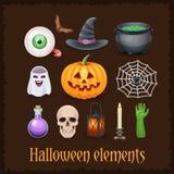 Éléments heureux de Halloween sur le fond foncé Image libre de droits