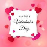 Éléments heureux de jour de valentines et de conception de mariage Salutation du texte sur le label blanc sur le fond rose avec d illustration libre de droits