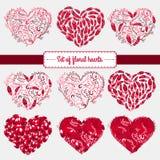Éléments heureux de jour de valentines et de conception de sarclage Illustration de vecteur Fond rose avec des ornements, coeurs  illustration libre de droits