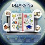 Éléments infographic d'apprentissage en ligne Images stock