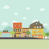 Éléments infographic de la petite vie urbaine de ville Style plat de conception Illustration de vecteur Photographie stock