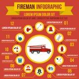 Éléments infographic de lutte contre l'incendie, style plat illustration stock