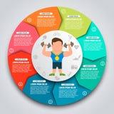 Éléments infographic de sport coloré Sportifs avec des kettlebells Image stock