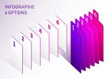 Éléments infographic de vecteur de label moderne d'étape Éléments abstraits des options d'étapes du graphique 6 illustration stock