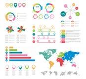 Éléments infographic plats Ensemble de vecteur d'éléments de diagramme de présentation illustration libre de droits