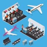 Éléments intérieurs d'avion avec la vue isométrique de personnes Vecteur illustration de vecteur