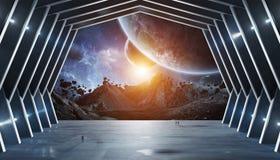 Éléments intérieurs du rendu 3D de vaisseau spatial énorme de hall de cette image Photo libre de droits