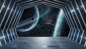 Éléments intérieurs du rendu 3D de vaisseau spatial énorme de hall de cette image Photographie stock