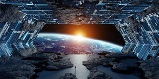 Éléments intérieurs du rendu 3D de vaisseau spatial en forme d'étoile énorme de ceci I Photographie stock libre de droits