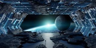 Éléments intérieurs du rendu 3D de vaisseau spatial en forme d'étoile énorme de ceci I Image stock