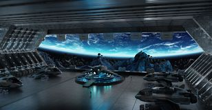 Éléments intérieurs du rendu 3D de vaisseau spatial de piste d'atterrissage de ceci I Photo stock