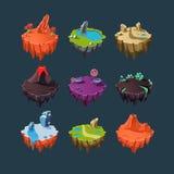 Éléments isométriques d'îles pour des jeux illustration de vecteur