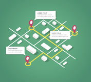 Éléments isométriques de conception de carte de ville Images libres de droits