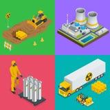 Éléments isométriques de déchets radioactifs Illustrations de vecteur de risque et de rayonnement de vecteur illustration de vecteur