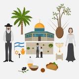 Éléments Jérusalem, Israël de symbole et de conception Points de repère de voyage Dôme de mosquée d'Al-Aqsa de la roche Architect illustration libre de droits