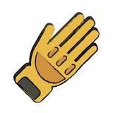 Éléments jaunes de dessin de pompier de protection de gant illustration stock