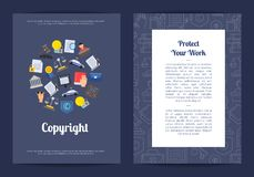 Éléments linéaires et plats de vecteur de style de copyright Photographie stock