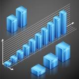 Éléments métalliques de bleu d'infographics Photographie stock