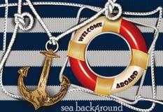 Éléments marins de conception de composition et de mer Photos stock